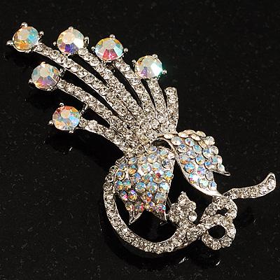 Clear Swarovski Crystal Floral Brooch (Silver Tone Metal) - main view