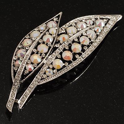 Large Diamante 'Leaf' Pin/Pendant (Silver Tone)
