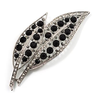 Large Black Diamante 'Leaf' Pin/Pendant (Silver Tone)
