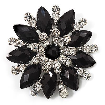 Black Acrylic Flower Brooch (Silver Tone Metal)