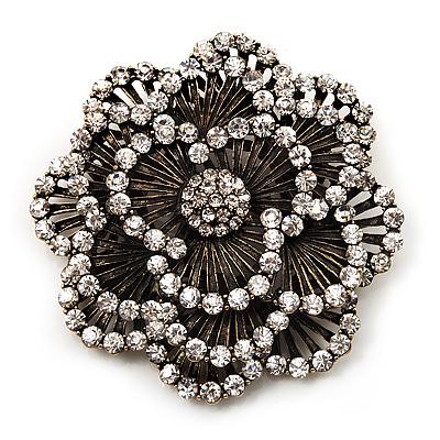 Large Vintage Dimensional Diamante Flower Brooch (Bronze Tone Metal)