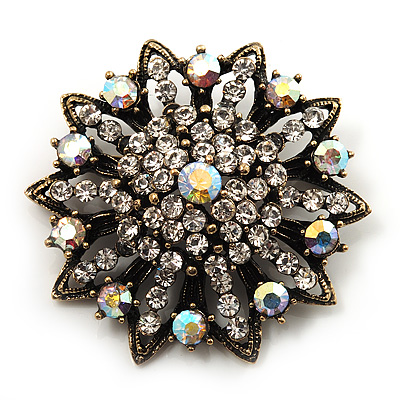Clear/ Iridescent Crystal Dimensional Floral Corsage Brooch (Antique Gold Tone)