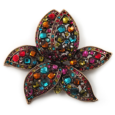 Large Multicoloured Diamante Floral Brooch/ Pendant (Antique Gold Finish)