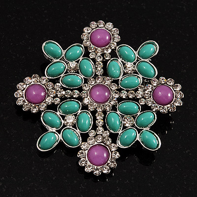 Square Turquoise Coloured Acrylic Bead Fancy Brooch (Silver Tone Metal)