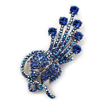Sky Blue/Iridescent Swarovski Crystal Floral Brooch (Silver Silver)