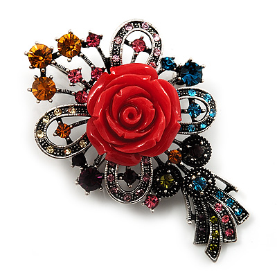 Antique Silver Crystal Rose Brooch/ Pendant