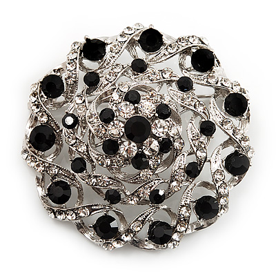 Dome Shaped Black & Clear Crystal Corsage Brooch (Silver Tone)