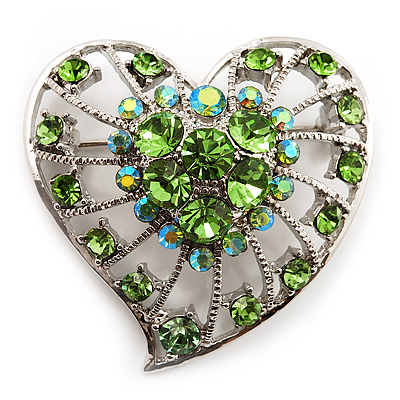 Silver Plated Apple Green Crystal Filigree Heart Brooch - main view