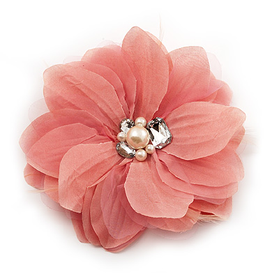 Large dusty pink jewelled fabric flower brooch 19cm diameter large dusty pink jewelled fabric flower brooch 19cm diameter main view mightylinksfo