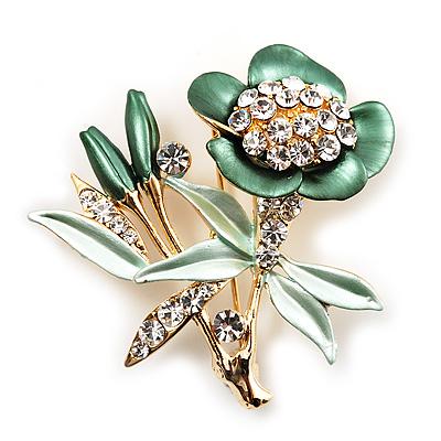 Green Enamel Crystal Bunch Of Flowers Brooch (Gold Tone)