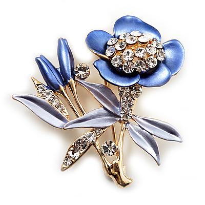 Violet Enamel Crystal Bunch Of Flowers Brooch (Gold Tone)