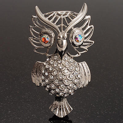 Large Filigree Crystal Owl Brooch (Silver Tone) - main view