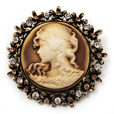 Vintage Round Crystal Cameo Brooch & Pendant In Antique Gold Metal