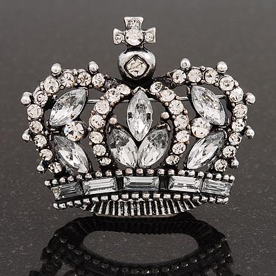 Clear CZ Crown Brooch In Burn Silver Metal