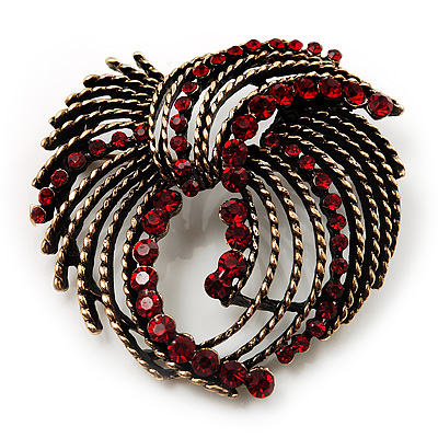 Bronze Finish Vintage Bow Crystal Brooch (Ruby Red Colour)