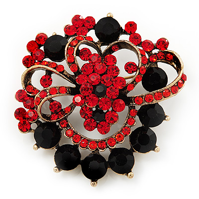 Bright Red & Jet-Black Diamante Corsage Brooch (Antique Gold Tone)
