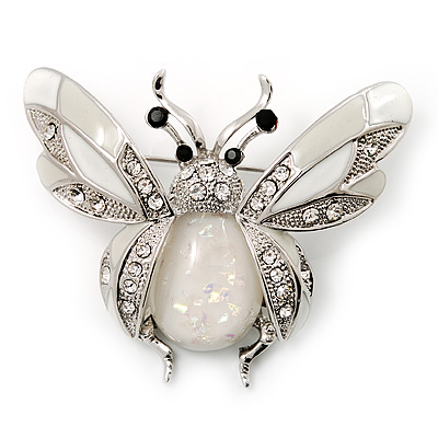 Large Enamel Bug Brooch (White) - main view