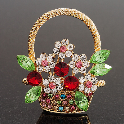 Multicoloured Diamante 'Basket With Flowers' Brooch In Gold Plated Metal