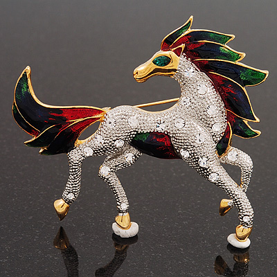 Oversized Diamante Enamel Horse Brooch In Rhodium Plated Metal - main view