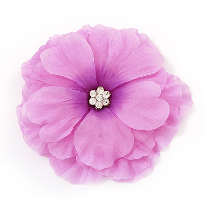 Large Pink Crystal Fabric Rose Brooch - 13cm Diameter