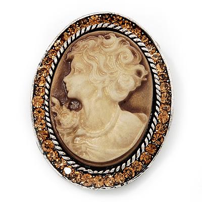 Swarovski Crystal Vintage Cameo Brooch (Burn Silver & Brown)