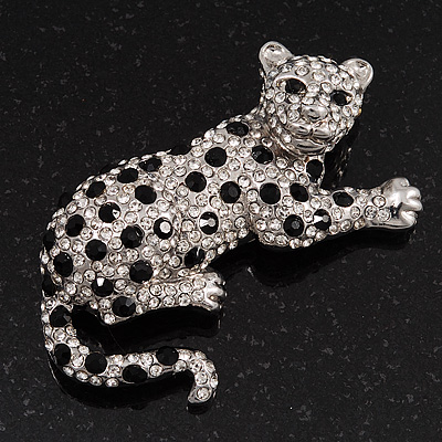 Swarovski Crystal Leopard Brooch (Silver Plated Finish) - main view