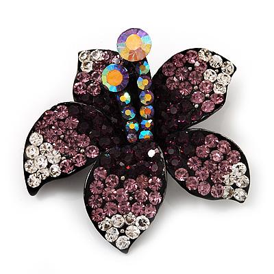 Stunning Purple Diamante Flower Brooch (Gun Metal Finish)