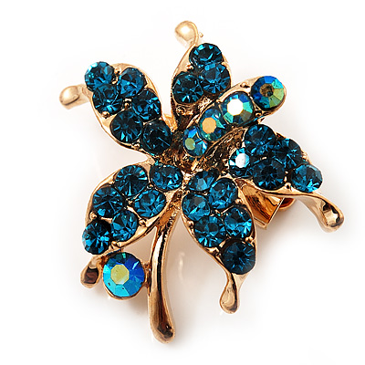 Tiny Teal Crystal Daisy Floral Pin In Gold Plated Metal