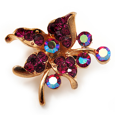 Tiny Magenta Crystal Flower Pin Brooch (Gold Tone)