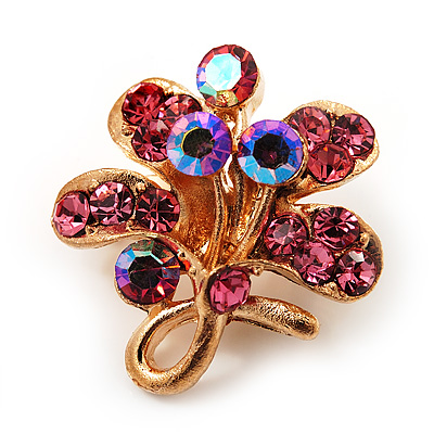 Tiny Pink Crystal Clover Pin Brooch (Gold Tone)