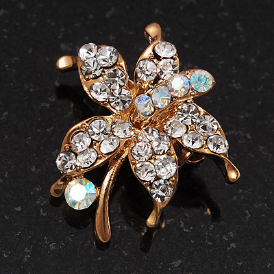 Tiny Clear Crystal Daisy Floral Pin In Gold Plated Metal