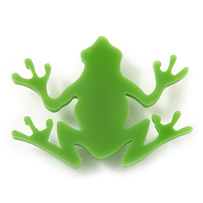 Lime Green Acrylic Frog Brooch - main view