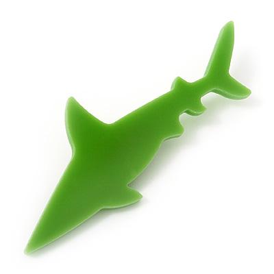 Lime Green Acrylic Shark Brooch
