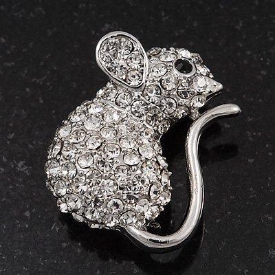 Small Crystal Mouse Pin In Rhodium Plated Metal - 25mm