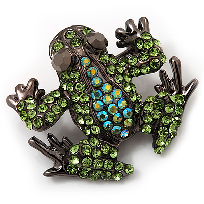 Small Green Diamante Frog Brooch In Gun Metal Finish - 3cm Length
