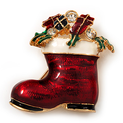 Christmas Stocking Brooch In Gold Plated Metal - 40mm L - main view