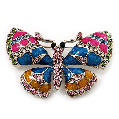Multicoloured Enamel Butterfly Brooch (Rhodium Plated Metal)