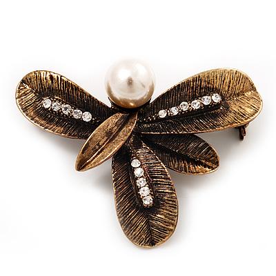 Vintage Bronze 'Leaf' Crystal Brooch