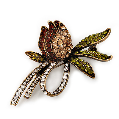 Vintage Burn Gold Crystal Rose Brooch (Clear, Citrine, Olive & Amber Colour)