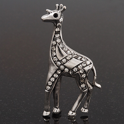 Burn Silver Diamante Giraffe Brooch