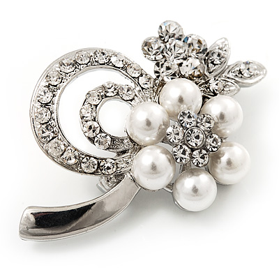 Fancy Simulated Pearl Diamante Flower Brooch (Silver Plated Metal)