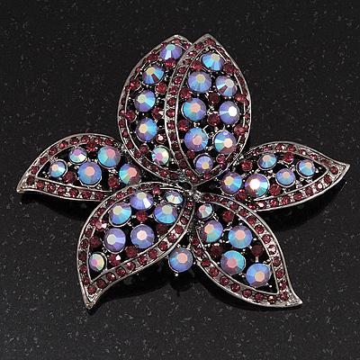 Large Lavender/Purple Diamante Floral Brooch/ Pendant (Silver Metal Finish)