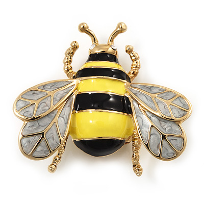 Yellow/Black Enamel Bee Brooch In Gold Plated Metal - 4cm Length - main view