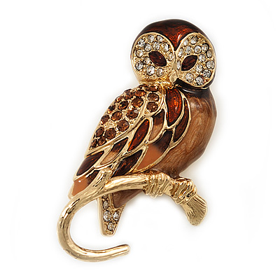 Brown Crystal 'Owl On The Branch' Brooch In Gold Plated Metal - 40mm L