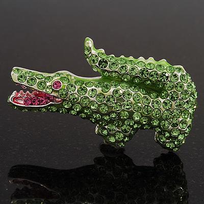 Salad Green Swarovski Crystal 'Crocodile' Brooch In Rhodium Plated Metal