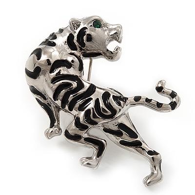 'Roaring Tiger' Brooch In Rhodium Plated Metal