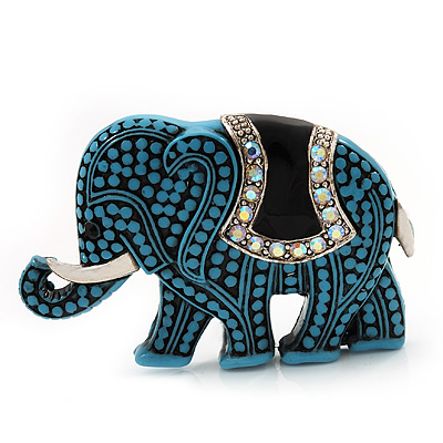 Light Blue Acrylic Elephant Brooch