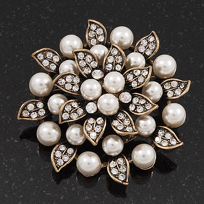 Bridal White Faux Pearl Floral Brooch In Antique Gold Plating - 5.5cm Diameter - main view