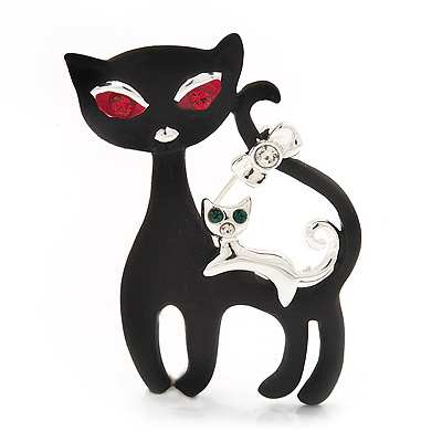 'Mother & Baby Cat Family' Brooch In Silver Tone Metal - 4.5cm Length