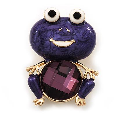 Deep Purple Enamel 'Frog' Brooch In Gold Plated Metal - 4.5cm Length